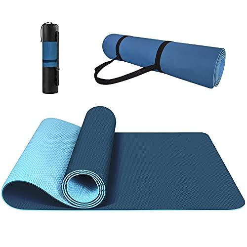 Yogamatte Rutschfest, ungiftig, mit Tragegurt Yogamatte mit Ausrichtungslinien für die Körperhaltung. Gymnastikmatte, Sportmatte, Fitnessmatte, Trainingsmatte Yogamatte.(Blau)