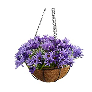 Mynse Hanging Artificial Flower Silk Chrysanthemum Basket Home Garden Outdoor Decoration Hanging Flowerpot Artificial Flower Butterfly Daisy Purple (Big Basket)