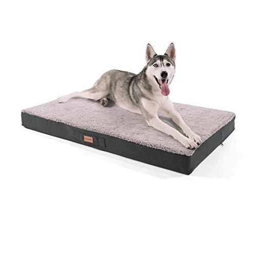 brunolie Balu sehr großes Hundebett in Grau, waschbar, orthopädisch und rutschfest, kuscheliges Hundekissen mit atmungsaktivem Memory-Schaum, Größe XL (120 x 72 x 10 cm)