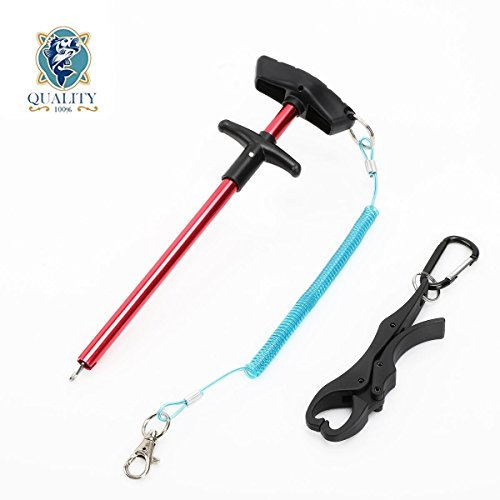 Dicero 10 inches Fishing Hook Remover with Stainless Coiled Lanyard Air Craft Aluminum Alloy with Oxidation (Bonus: Plastic Fish Lip Gripper Free for You)