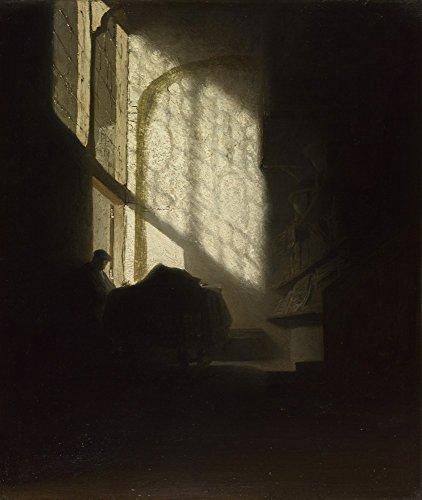 Het Museum Outlet - Volger van Rembrandt - Een Man zittend lezen aan een tafel in een Lofty Room, Stretched Canvas Gallery verpakt. 11,7 x 16,5