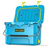 REYLEO Camping Cooler, 21 Quart 3-Day Ice Retention, Portable Rotomolded Cooler, 30-Can Capacity Ice Chest, with Built-in Bottle Opener, Cup Holder, Fish Ruler (Blue)