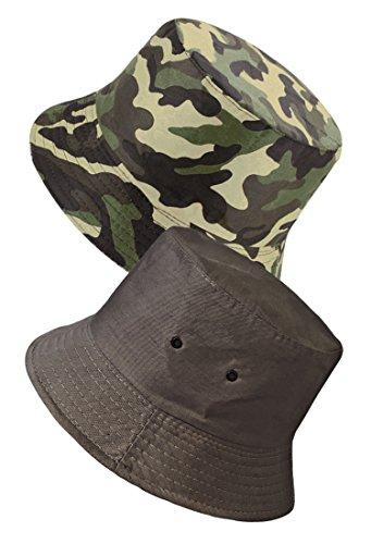 TOSKATOK Anti UV UPF 50+ Bob Été ou Plage Unisexe Hommes Femmes Camouflage 2 en 1 Réversible Coton Mélange-Opt-1