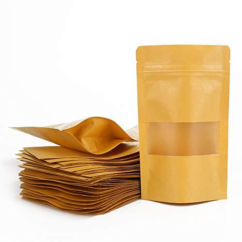 ARTESTAR 100 Piezas Bolsas de Papel Kraft marrón con Ventana, Bolsas Zip de Almacenamiento, Bolsa de Regalo, Bolsas de Regalo de Bricolaje de Papel Reciclado para almuerzos de Fiesta (9 × 14 cm)