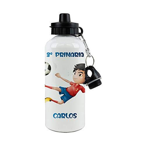 SAQUITOMAGICO Bidon Aluminio Personalizado con tu Nombre o Texto 400 ml o 600ml.-Cantimplora para niños.-Botella Personalizada para niños (Futbolista)