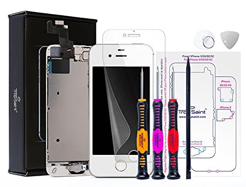 Trop Saint Pantalla Blanca para iPhone SE (2016) - Kit de reparación LCD - con Guía 5 lenguas, Superficie de Trabajo magnética, Herramientas y Film Protector Pantalla