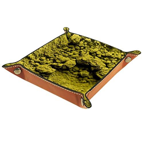 PU Leder Tablett Organizer, Abnehmbare Zwei Fächer Taschenleerer Schreibtisch Ablage Aufbewahrungsbox für Schmuck Schlüssel Geldbörsen Uhren Münzen Grüner Tee Matcha Pulver