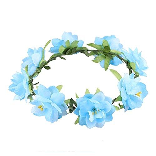 Damen Handwerk Meer Blumen Kranz Haar Crown Kopfbedeckung , Blau