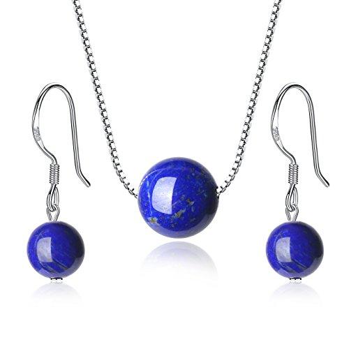 COAI Congiunto Collar y Pendientes de Plata de Ley con Piedras de Lapislázuli