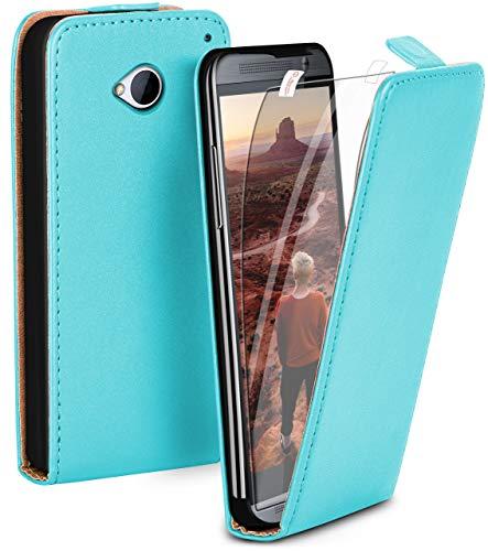 MoEx Premium Case + Lámina de protección Compatible con HTC One M7 | Funda con Solapa + Lámina de protección para el teléfono móvil, Turquoise