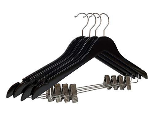 20 x Kleiderbügel Schwarz Holz mit Klammer Holzkleiderbügel 44,5 cm | Rockbügel | Hosenbügel | Klammerbügel | Clipbügel | Hemdenbügel | Blusenbügel