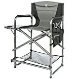 EVER ADVANCED Camping Folding Director Chair, Makeup Folding Artist Chair Bar Height with Side Table for Camping, Patio Lawn, Heavy Duty Supports 300 lb(Black)