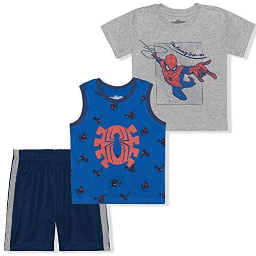 Marvel Boy's 3-Pack Amazing Spider-Man Tee, Sleeveless Shirt and Mesh Short Set, Blue/Grey, Size 2T