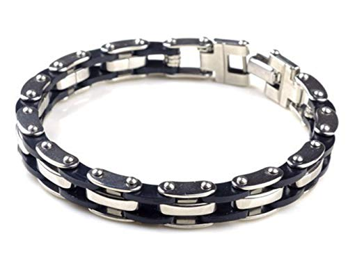 JJDSL Edelstahl Armband,Männer Silber Punk Edelstahl Kette Armbänder & Armreifen Herren Armband Armreif Armband Biker Motorrad