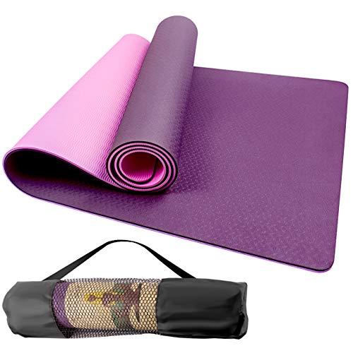 Swonuk Esterilla Yoga Antideslizante ecológico TPE Colchoneta de Yoga Pilates Mat para Hombres, Mujeres, Hogar, Gimnasio 183cm x 61cm x 6mm (Rosa púrpura)