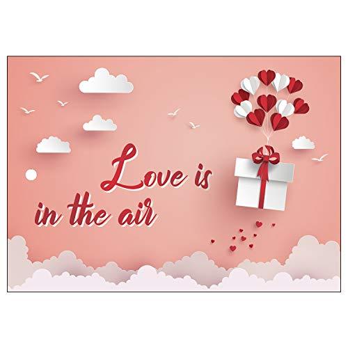 Ballonflugkarten zur Hochzeit - 50 Stück - gelocht, schöne leichte Ballonkarten mit Herzmotiv für einen weiten Flug im Postkarten-Format für Luftballons und Herzluftballons