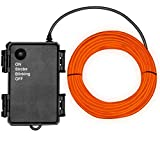 Basdien Waterproof El Wire 16.5ft Neon El Wire with Battery Operated Dustproof 4 Modes for DIY Cosplay Dress Costumes Decoration Orange