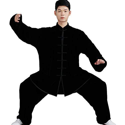 Daoba Unisex Tai Chi Abbigliamento Uniforme di Spessore Qi Gong e Kung Fu Abiti da Arti Marziali Top e Pantaloni Adatto a Primavera Autunno Inverno (Nero, XXL)