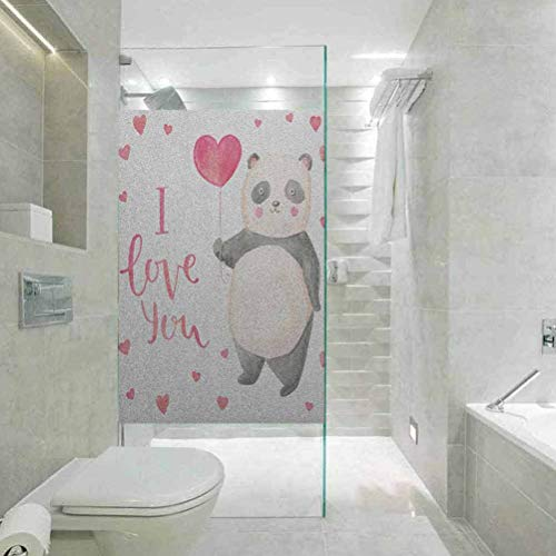Stained Glass Window Film, I Love You Cute Panda Bear Holding A Balloon Valentines, Bathroom Office Meeting Room Living Room Window Membrane, W35.4xH78.7 Inch