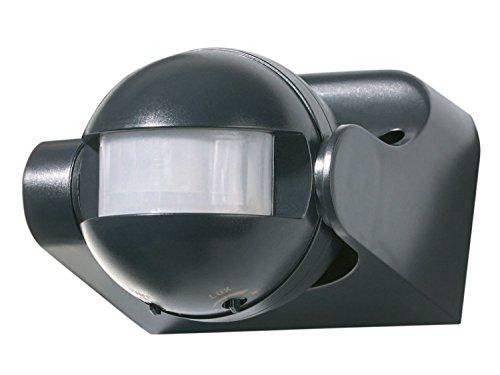Powerfix Profi–Detector de movimiento ap 180°, Color negro ideal para Halógena bajo consumo y LED–Leuchten en interior y exterior (IP 44)