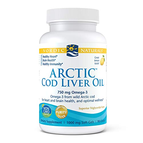 Nordic Naturals Arctic Cod Liver Oil, Lemon - 90 Soft Gels - 750 mg Total Omega-3s with EPA & DHA - Heart & Brain Health, Healthy Immunity, Overall Wellness - Non-GMO - 30 Servings