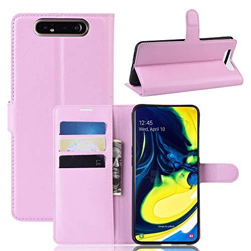 Capa Capinha Carteira 360 Para Samsung Galaxy A80 Tela De 6.7Polegadas Case Couro Flip Wallet - Danet (Rosa)