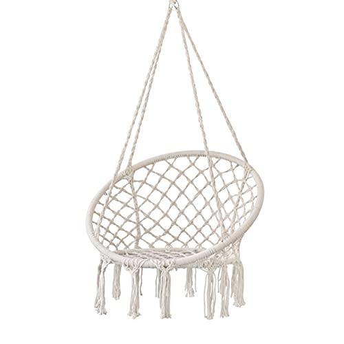 DFGH Silla Colgante con Flecos para jardín, diseño de macramé, Trenzado, de algodón, con Cuerdas y Anillas, para Interiores y Exteriores, Patio, Cubierta, Patio, jardín
