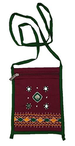 SriShopify Banjara - Bolsa de viaje tradicional de algodón hecha a mano (pequeño, espejo, cuentas e hilo, bolsa de trabajo artesanal, color granate)