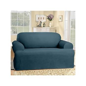 SureFit Duck Solid T-Cushion - Sofa Slipcover - Bluestone