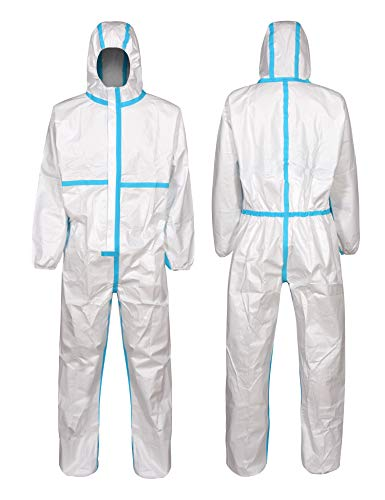 Clylmedical Disposable Protective Coveralls Body Suit Isolation Gown XL White