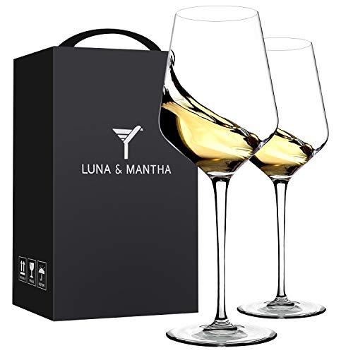 Red Wine Glasses Crystal Set of 2-Premium Crystal Wine Glasses Hand Blown-15...