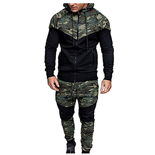 WOCACHI Final Clear Out Mens Tracksuit 2 Piece Sets Patchwork Sweatshirt Tops Pants Hooded Sports Suit Hoodies Jackets Sweatpants Pullover Spring Winter Long Sleeve Warm Camo - Green