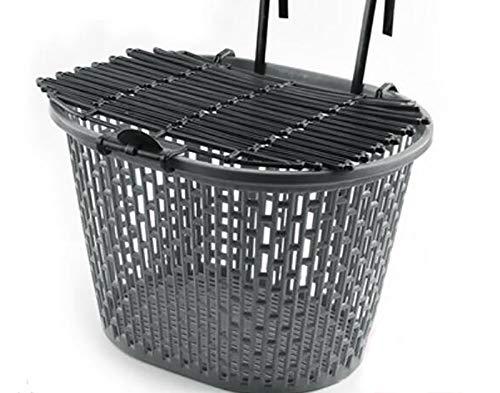 Cesta de mimbre para bicicleta,cesta delantera para coche,eléctrica,cesta para bicicleta,cesta para bicicleta de montaña,cesta delantera de plástico con bicicleta de montaña-Gris 31x20.5x23cm