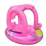 Flotador de natación para bebé con toldo inflable para piscina, flotador de barco, juguete flotante para bebés de 12 a 36 meses azul azul (Red baby float)