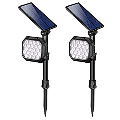 ROSHWEY Solar Spot Lights Outdoor, 22 LED Bright Landscape Light Waterproof Security Lamps for Yard, Pathway, Walkway, Garden, Driveway - Cool White, 2 Pack