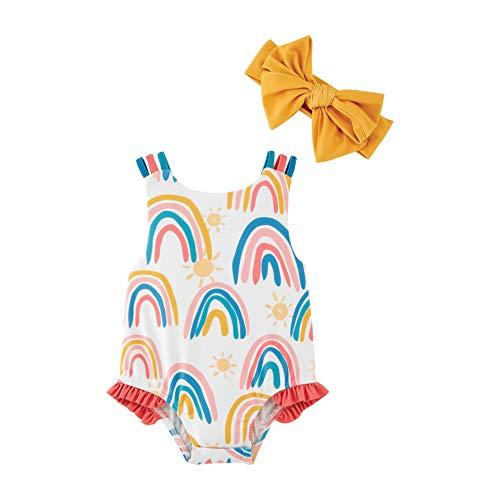 Mud Pie Girls' Rainbow Swimsuit with Headband, Yellow, 12-18 Months