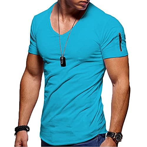 Deportiva Camisa Hombre Verano Simplicidad Moda Cuello V Color Sólido Hombre Camiseta Moderna Personalidad Cremallera Manga Corta Casual Transpirable Correr Shirt H-Blue 3 S