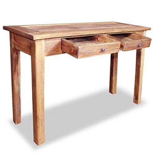 Festnight- Massivholz Konsolentisch mit 2 Schubladen Holztisch Schreibtisch Computertisch Ablagetisch Altholz Massiv 123 x 42 x 75 cm