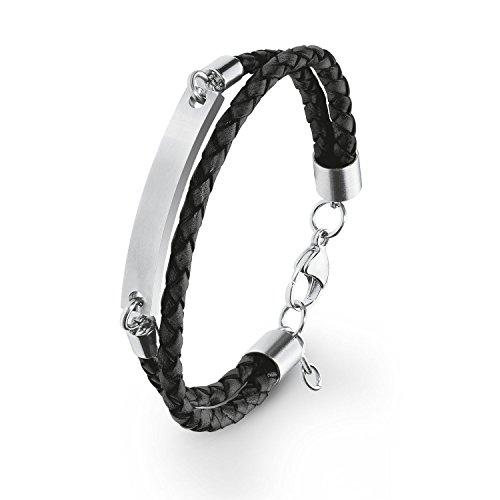 s.Oliver Herren ID-Armband 20+2cm Edelstahl Leder geflochten inkl. Wunschgravur (schwarz)