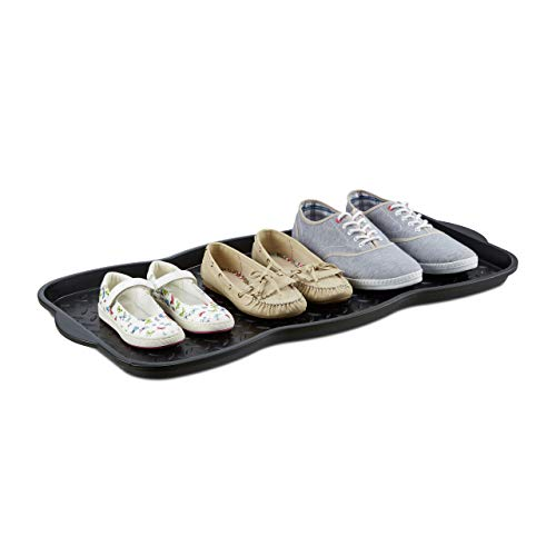 Relaxdays Schuhabtropfschale groß, Kunststoff Schuhablage f. 6 Schuhe, Profil Schmutzfang HBT: 3 x 75 x 38 cm, schwarz