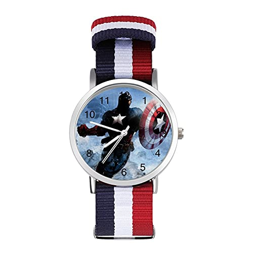 Reloj de ocio para adultos Capitán América, moderno, hermoso y personalizado, de aleación, casual, deportivo, para hombres y mujeres