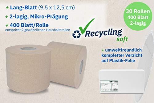 Hypafol Toilettenpapier umweltfreundlich, 2-lagig, ohne Plastikverpackung | Vorratspack mit 30 Rollen, à 400 Blatt | 100% recycling | extra langes Blatt 9,5 cm x 12,5 cm
