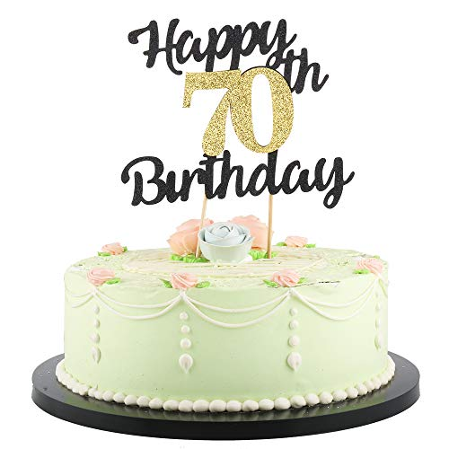 LVEUD Happy Birthday Cake Topper Black Font Golden Numbers 70th Birthday Happy Cake Topper -Birthday Party Decorations (70th)