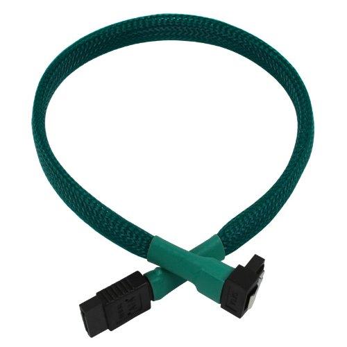 Nanoxia 900500030 SATA-kabel 0,3 m, zwart, groen - SATA-kabel (0,3 m, SATA III, stekker op stekker, stekker, zwart, groen, recht, onder)