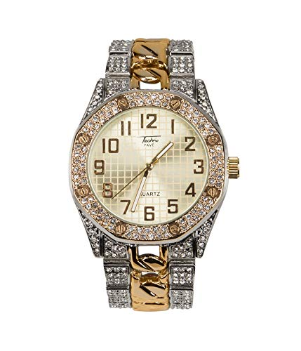 Bling-ed Out Men's 40mm Dial CZ Two Tone Gold Watch with Iced Out Bezel | Japan Movement | Simulated Lab Diamonds - Two Tone