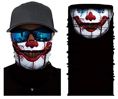 LEO mascherina per motociclista teschio joker cranio antipolvere lavabile bandana per moto protezione per viso naso e bocca passamontagna scaldacollo sciarpa (21 models) (m3)