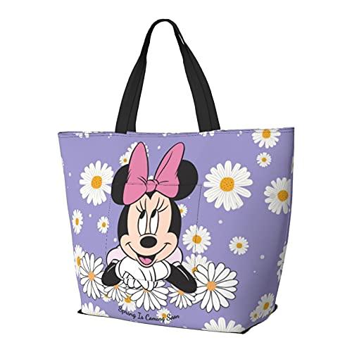Bolsa de compras de Mickey Mouse Minnie con asa de hombro, estilo simplicidad, gran capacidad, bolsa de compras, gimnasio, playa, viajes, diario, unisex, plegable