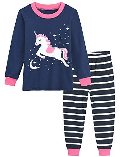 Little Hand Schlafanzug Mädchen Lang Einhorn Kinder Zweiteiliger Baumwolle Ärmel Nachtwäsche T-Shirt und Hose 92 98 104 110 116 122 (116 (HerstellerGröße: 130), Einhorn 1)