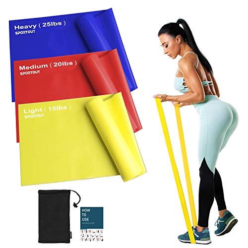 Sportout Fitnessbänder Set, 2m Ultra Lange Gymnastikband,3 Widerstandsstufen Dehnbänder,Resistance Band Trainingsbänder für Yoga, Ballett, Pilates, Physiotherapie (Mixed Resistance)