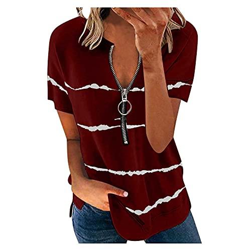 Blusa de verano para mujer, cuello en V, con cremallera, manga corta Vino XXL